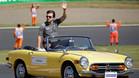 Alonso, durante el desfile previo al Gran Premio
