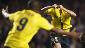 Iniesta acaba de marcar el 1-1 en Stamford Bridge que clasifica al Barça para la final de la Champions de Roma-2009.