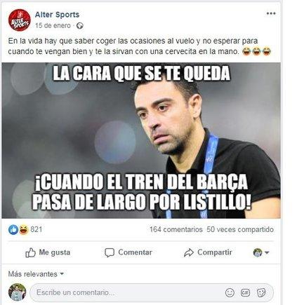 mensaje pagado por el FC Barcelona contra Xavi