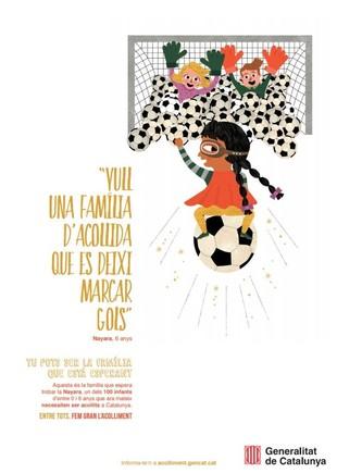 Cartell de la Generalitat de la campanya de cerca de famílies d'acollida.
