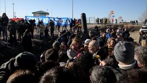 Acto de campaña de ERC frente a la cárcel de Estremera.