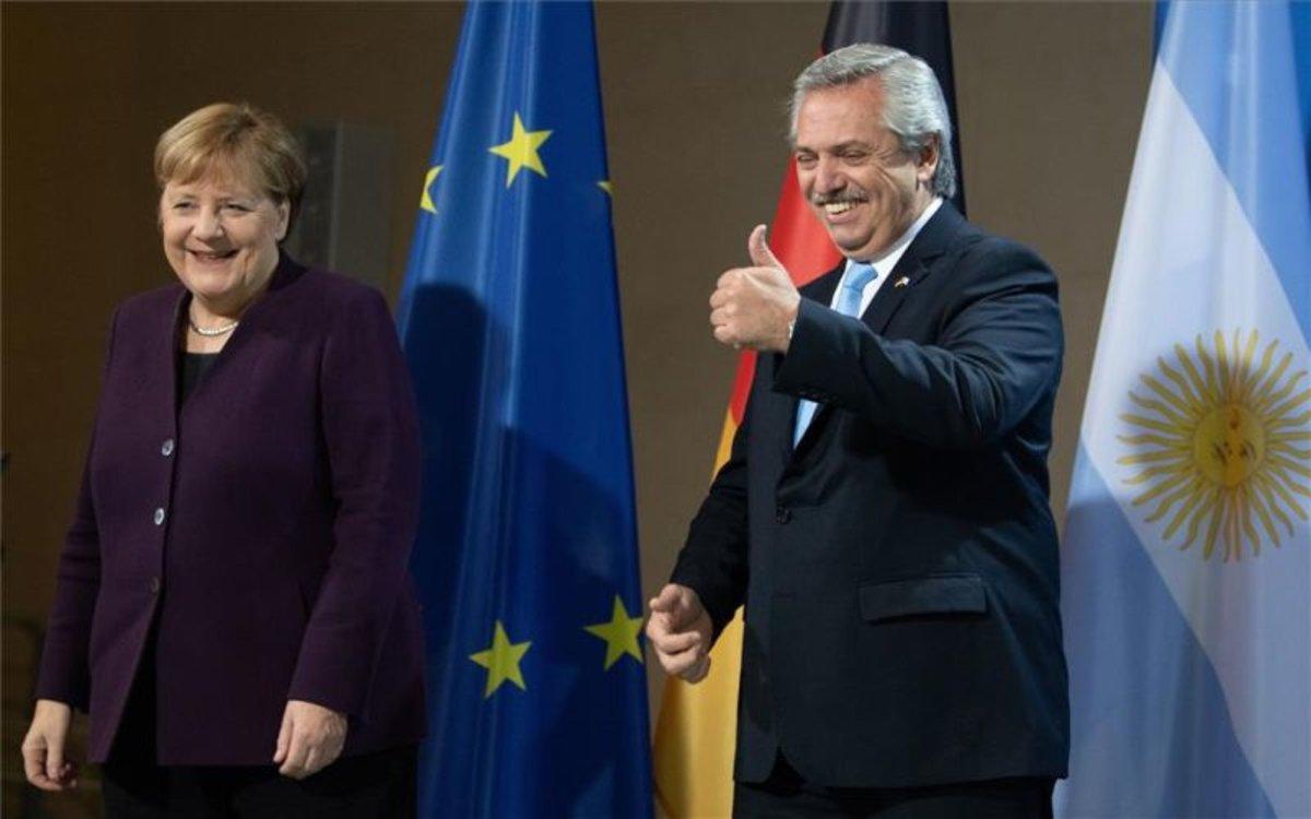 Angela Merkel y Alberto Fernández, presidente de Argentina.