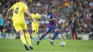 Ansu Fati, en la visita del Villarreal al Camp Nou.