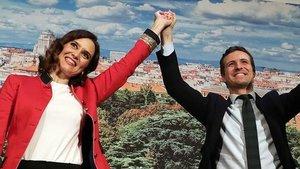 Díaz Ayuso y Casado, juntos en un acto del PP en una foto de archivo.