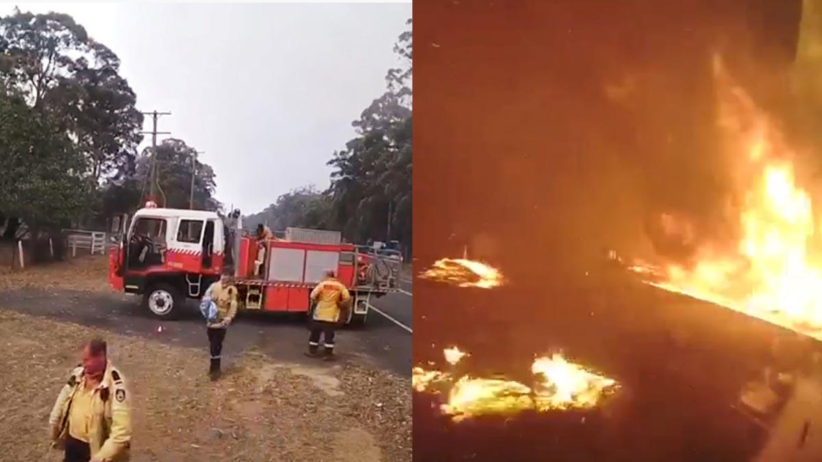 Avance fulminante de un incendio forestal en la localidad australiana de Dunmore.