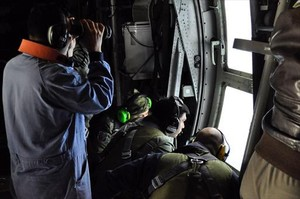 Un avión participante en la búsqueda del submarino desaparecido.
