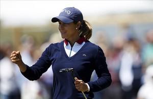 Azahara Muñoz hace un gesto de satisfacción en la tercera ronda del torneo.