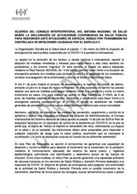 Borrador del acuerdo del Consejo Interterritorial del Sistema Nacional de Salud de este 30 de septiembre de 2020.