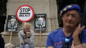 Protesta anti-'brexit' frente al Parlamento de Londres el pasado miércoles.