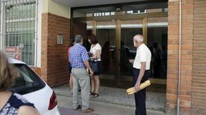 Portal del domicilio de Aranda de Duero en el que ha fallecido una mujer de 49 años.