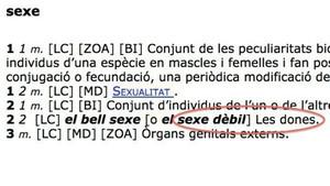 Captura de la definición de sexe recogida en el Diccionari de l'Institut d'Estudis Catalans.