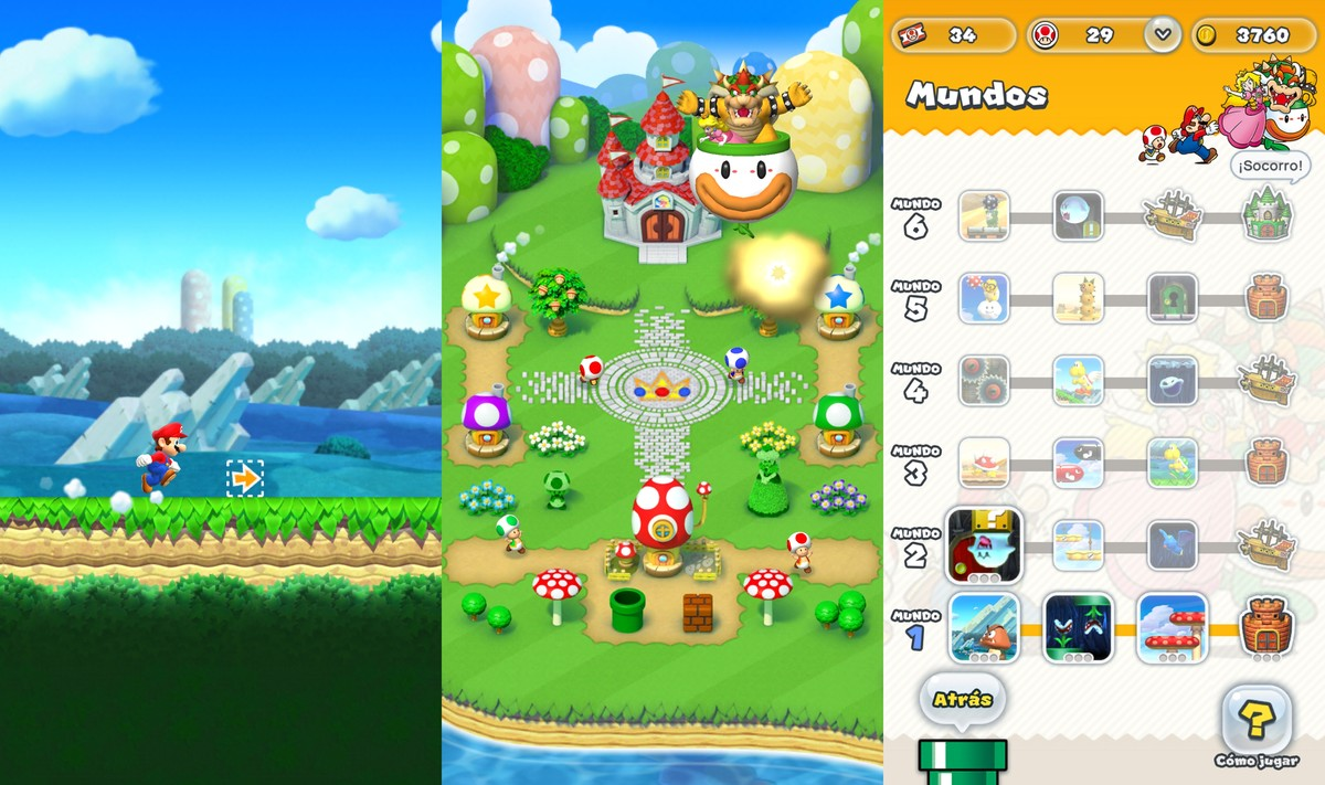 Capturas de Super Mario Run.