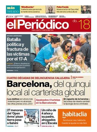 La portada de EL PERIÓDICO del 18 de agosto del 2019