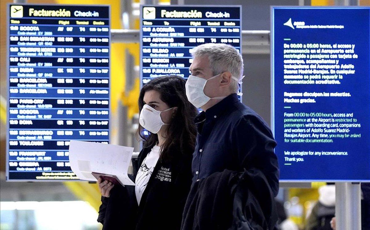 Ambiente en el aeropuerto Adolfo Suárez-Madrid Barajas.