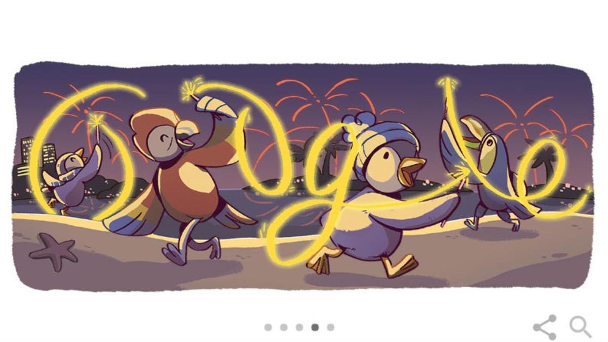Google celebra la nit de Cap d'Any amb el seu 'doodle' de pingüins i aus tropicals