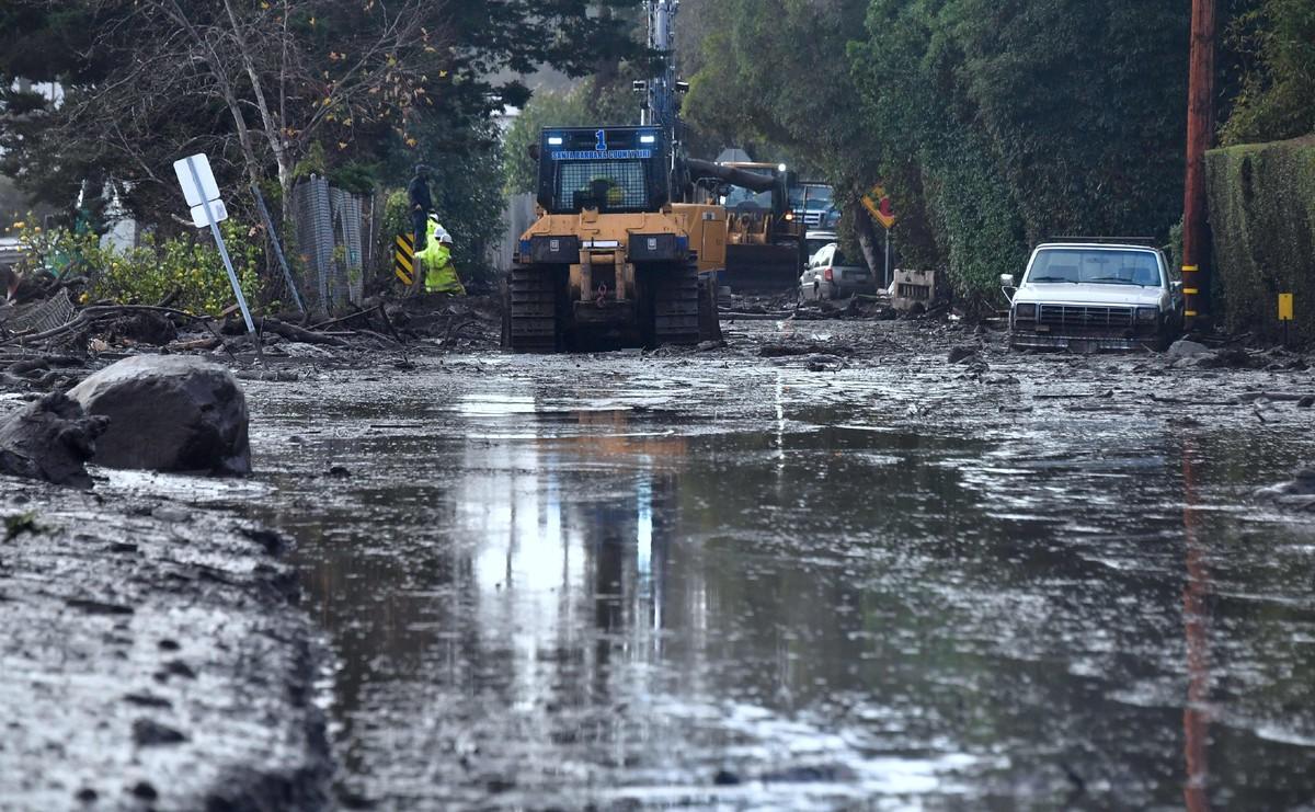 Efectos de las lluvias en California, en la zona de Montecito.