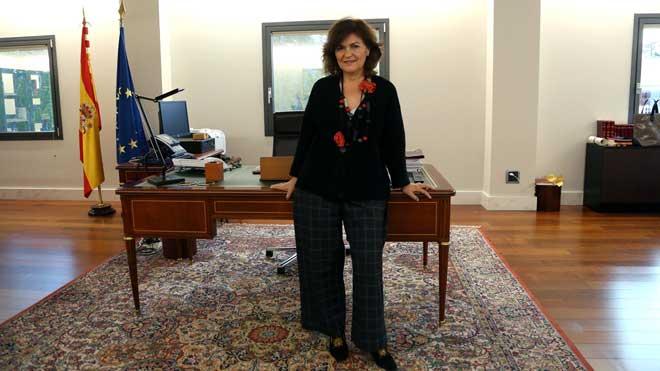 Carmen Calvo: «Un Govern democràtic no treu els presos de la presó»