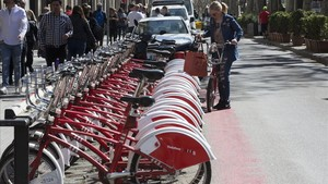 Estación de Bicing en Barcelona