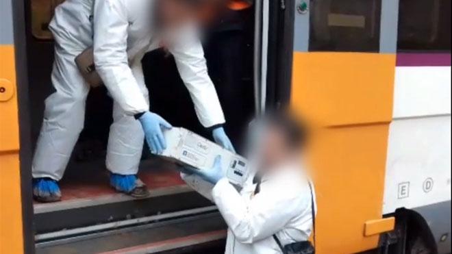 Extracción de la caja negra del tren que ha descarrilado en Vacarisses.