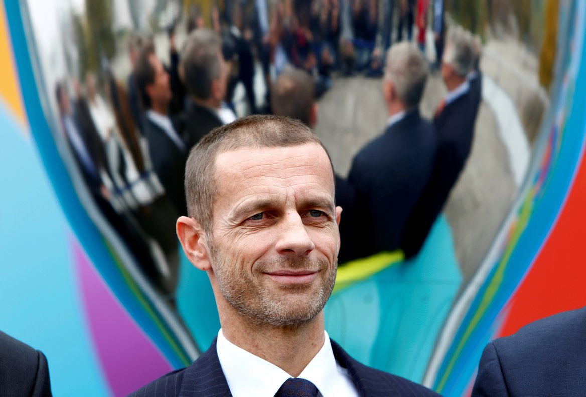 FILE PHOTO: Football Soccer - UEFA Euro 2020 Munich Logo Launch - Olympia Park, Munich, Germany - 27/10/16. UEFA President Aleksander Ceferin looks on during the logo launch. REUTERS/Michaela Rehle/File Photo