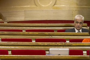 Gordó, en su escaño de diputado no adscrito en el Parlament.