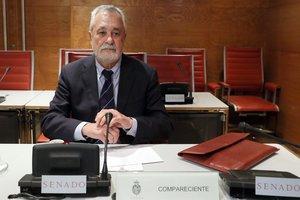 El expresidente andaluz José Antonio Griñán, durante su comparecencia en el Senado.