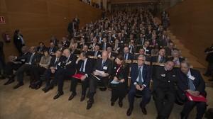 Empresarios catalanes y valencianos durante la cita de este lunes en Tarragona.