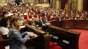 Imagen de un pleno del Parlament.