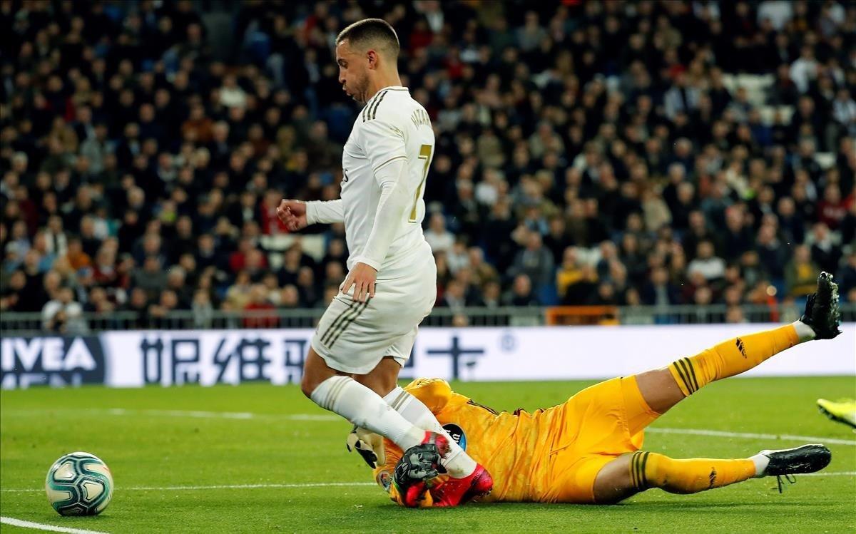 Eden Hazard en el último partido de Liga contra el Celta.
