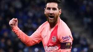 Leo Messi celebra el tercer gol azulgrana ante el Espanyol.