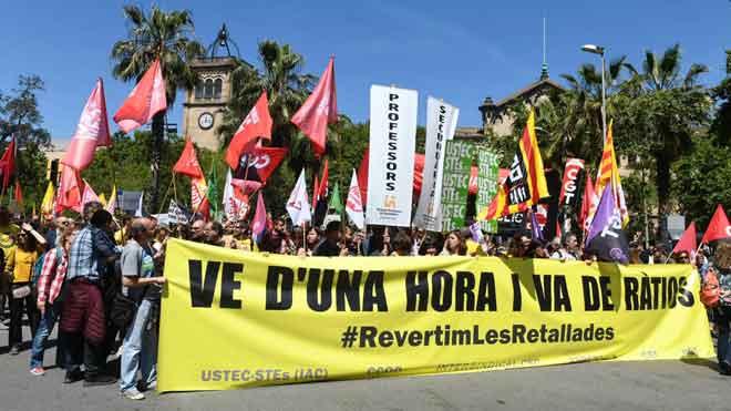 Manifestación de profesores catalanes en Barcelona.