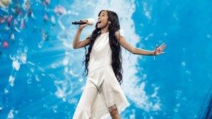 Melani en su segundo ensayo en el escenario del Festival de Eurovisión Junior.