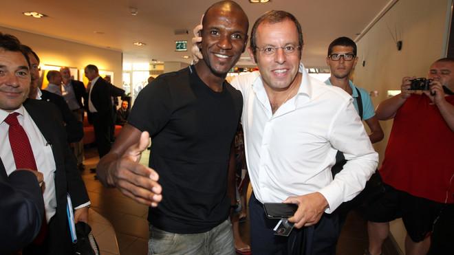 Abidal y Rosell en Mónaco.