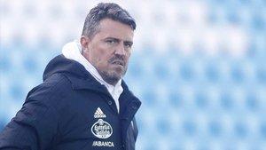 Òscar Garcia Junyent, en un entrenamiento del Celta en la pasada temporada.