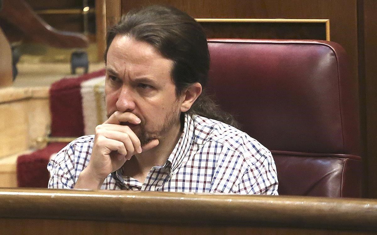 Pablo Iglesias, en la última jornada de la investidura.