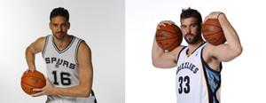 Pau Gasol, con la camiseta de su nuevo equipo, los Spurs, y su hermano Marc, un año más con los Grizzlies.