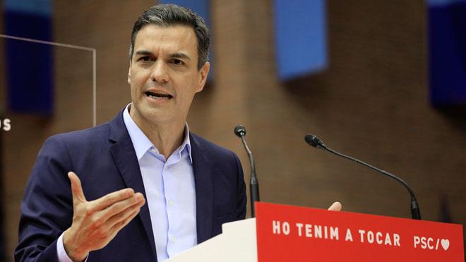 Pedro Sánchez ayerdurante su intervención en el mitin deBarcelona.
