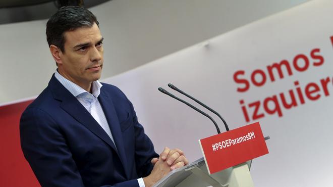 Pedro Sánchez, dilluns a la seu del PSOE.