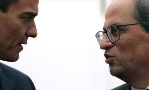 El presidente del Gobierno, Pedro Sánchez, juntoal president de la Generalitat, Quim Torra.