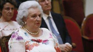 Pilar de Borbón, durante la presentacion de la autobiografia del rey Simeón II de Bulgaria, en el 2016.
