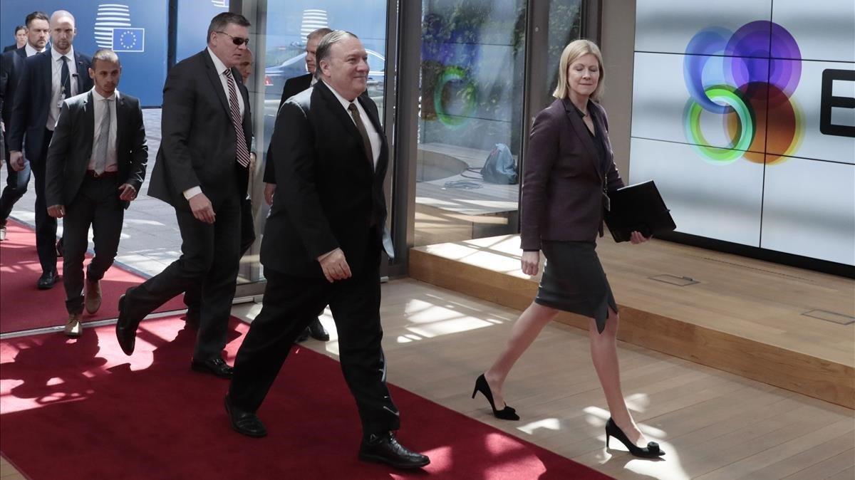 Pompeo, a su llegada a Bruselas.