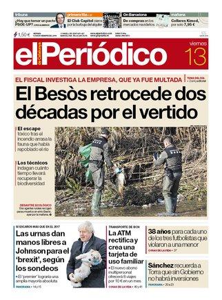 La portada de EL PERIÓDICO del 13 de diciembre del 2019.