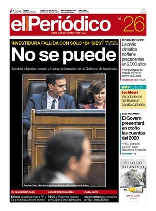 La portada de EL PERIÓDICO del 26 de julio del 2019