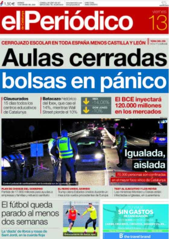 La portada de EL PERIÓDICO del 13 de marzo del 2020.