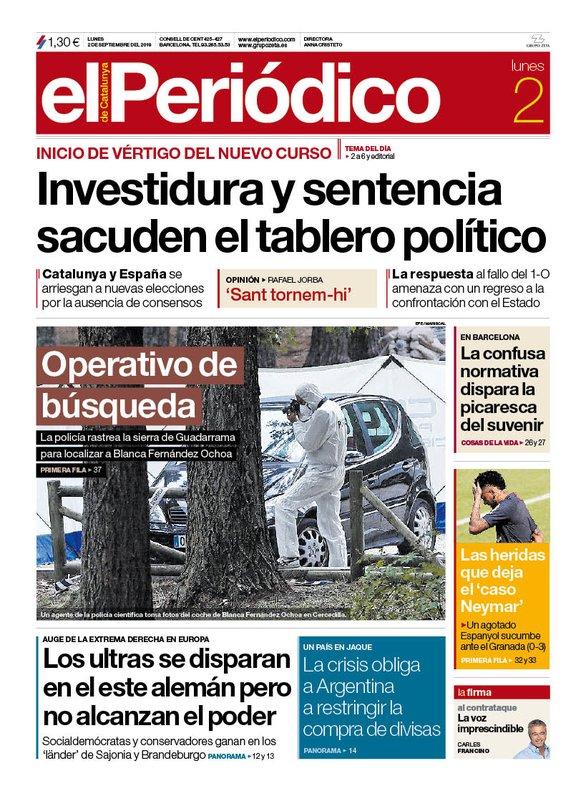 Portada El Periódico 2 de septiembre de 2019.