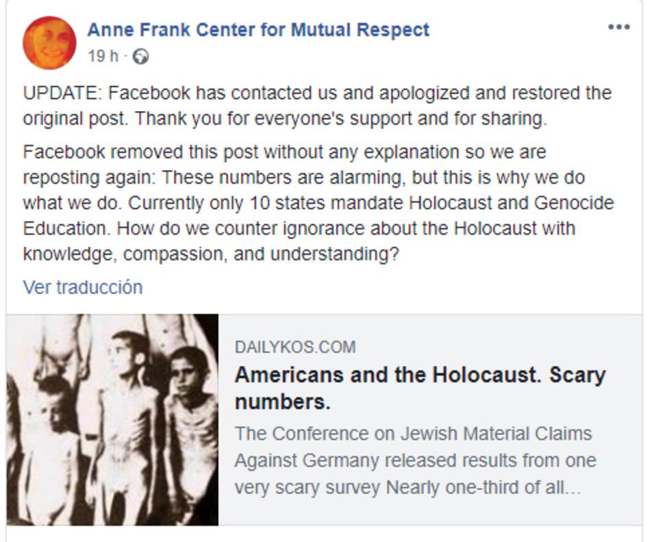 Post del Centro Anne Frank anunciando la rectificación de Facebook.