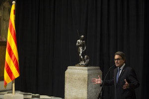 El president de la Generalitat, Artur Mas, durante la toma de posesión de los nuevos consellers.