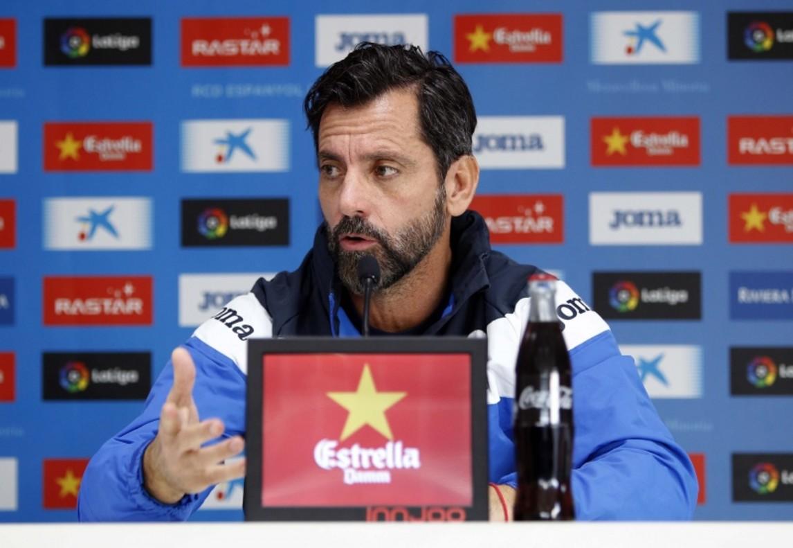 Quique Sánchez Flores, en una rueda de prensa del Espanyol.