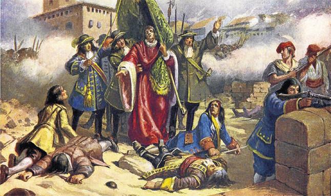Rafael Casanova, defensor de barcelona. El 'conseller en cap' de la ciudad (Mollà, 1660–Sant Boi de Llobregat, 1743) detentó el mando civil durante los 414 días que duró el sitio de la ciudad. La mañana del 11, resultó herido en la batalla mientras portaba el pendón de la patrona Santa Eulàlia. Tras la capitulación, huyó de la ciudad y se escondió en la casa de un hijo en Sant Boi. En 1719 fue amnistiado y volvió a ejercer de abogado hasta que se retiró en 1737.