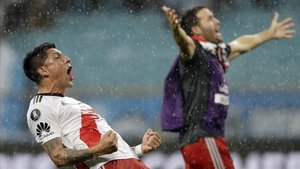 River festeja la clasficación a la final de la Copa Libertadores.